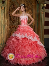 Waltermelon 2013 New Style Arrival Strapless Ruffles sweet sixteen Dress with Appliques Decorate In Formal Evening Style QDZY018FOR