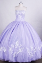 Wonderful Ball gown Strapless Floor-length Quinceanera Dresses Appliques Style FA-Z-0021