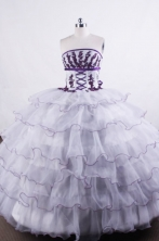 Wonderful Ball gown Strapless Floor-length Quinceanera Dresses Appliques with Beading Style FA-Z-0019