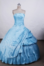 Wonderful Ball gown Strapless Floor-length Quinceanera Dresses Embroidery Style FA-Z-0040