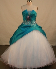 Elegant Ball Gown Strapless Floor-length Teal Taffeta Beading Quinceanera dress Style FA-L113