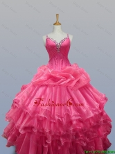 2015 Elegant Straps Quinceanera Prom Dresses with Beading in Organza SWQD003-1FOR