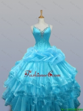 2015 Pretty Straps Beaded Quinceanera Prom Dresses with Ruffled Layers SWQD003-9FOR