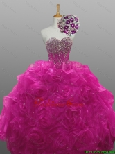 2015 Summer Elegant Sweetheart Beaded Quinceanera Prom Dresses with Rolling Flowers SWQD008-2FOR