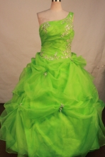 Affordable Ball Gown One Shoulder Neck Floor-Length Spring Green Quinceanera Dresses Style LJ042444