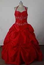 Beautiful Ball Gown Halter Floor-length Red Quincenera Dresses TD260023