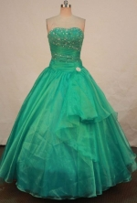 Beautiful Ball Gown Strapless Floor-length Quinceanera Dresses Appliques with Beading Style FA-Z-025
