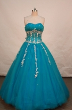 Beautiful ball gown sweetheart-neck floor-length appliques teal quinceanera dresses FA-X-033