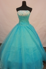 Brand New Ball Gown Strapless Floor-Length Baby Blue Beading Quinceanera Dresses Style FA-S-147