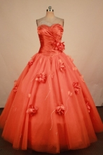 The Brand New Ball Gown Sweetheart Floor-length Orange Taffeta Hand Flowers Quinceanera dress Style FA-L-409