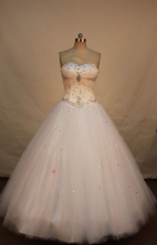 Cute ball gown sweetheart-neck floor-length net beading white quinceanera dresses FA-X-034