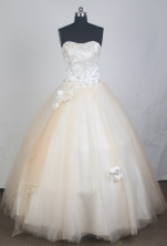 Elegant Ball Gown Strapless Floor-length Champagne Quinceanera Porm Dresses TD2702
