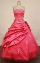 Elegant Ball Gown Strapless Floor-length Quinceanera Dresses Appliques with Beading Style FA-Z-0202