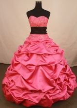 Exclusive Ball Gown Sweetheart Floor-length Rose Pink Taffeta Quinceanera dress Style LJ42452