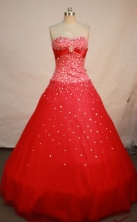 Exquisite A-line swetheart-neck floor-length beading red quinceanera dresses FA-X-006
