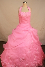 Exquisite Ball Gown Halter Top Neck Floor-Length Baby Pink Quinceanera Dresses Style LJ042445