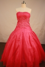 Exquisite Ball Gown Strapless Floor-Length Hot Pink Quinceanera Dresses Style LJ42450