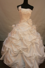 Exquisite Ball Gown Strapless Floor-Length White Hand Flower Quinceanera Dresses Style FA-S-148