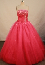 Fashionable Ball Gown Strapless Floor-length Red Organza Beading Quinceanera dress Style FA-L-145