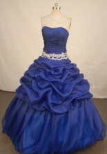 Fashionable Ball Gown Strapless Floor-length Royal Blue Organza Quinceanera dress Style LJ42451