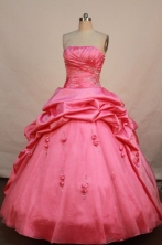 Lovely ball gown strapless floor-length taffeta watermelon beading quinceanera dresses FA-X-017