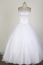 Low Price Ball Gown Strapless Floor-length WhiteQuinceanera Dress X0426017