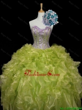 Luxurious 2016 Fall Ball Gown Sweet 16 Dresses with Sequins and Ruffles in Yellow Green SWQD006-2FOR