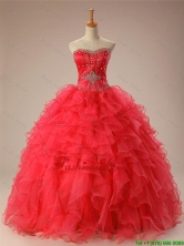 Luxurious 2016 Fall Sweetheart Beaded Quinceanera Prom Dresses with Ruffles SWQD009-3FOR