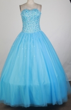Luxurious Ball Gown Strapless Floor-length Baby Blue Quinceanera Dress X0426051