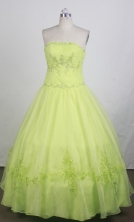 Luxurious Ball Gown Strapless Floor-length Lime Green Quinceanera Dress LZ426072