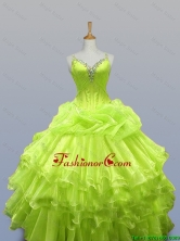 Luxurious Straps Quinceanera Prom Dresses with Ruffled Layers for 2015 Fall SWQD003-4FOR