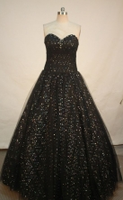 Modern A-line sweetheart-neck floor-length black quinceanera dresses FA-X-012