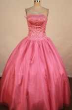 Modest Ball Gown Strapless Floor-length Quinceanera Dresses Appliques Style FA-Z-0230