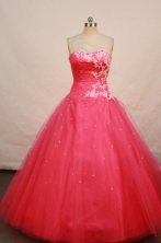 Modest ball gown sweetheart-neck floor-length coral red appliques quinceanera dresses FA-X-037