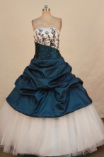 Perfect Ball Gown Strapless Floor-length Teal Taffeta Appliques Quinceanera dress Style FA-L-323