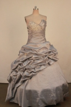 Perfect Ball Gown Sweetheart Neck Floor-Length Gray Beading Quinceanera Dresses Style FA-S-238