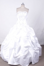 Popular Ball Gown Strapless Floor-Length White Beading and Appliques Quinceanera Dresses Style FA-S-299