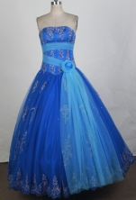 Popular Ball Gown Strapless Floor-length Blue Quinceanera Dress Y042638