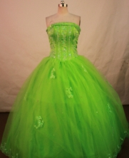 Popular Ball Gown Strapless Floor-length Spring Green Organza Quinceanera dress Style LJ42455