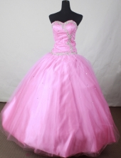 Popular Ball Gown Sweetheart Floor-length Pink Taffeta Beading Quinceanera dress Style FA-L-127