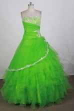 Popular Ball Gown Sweetheart Floor-length Spring Green Quinceanera Dress Y042634