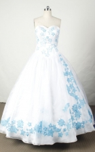 Popular Ball Gown Sweetheart  Floor-length White Satin Embroidery Quinceanera dress Style FA-L-036