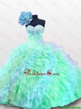 Pretty 2016 Summer Sweetheart Appliques Quinceanera Prom Dresses with Sequins and Ruffles SWQD012-1FOR