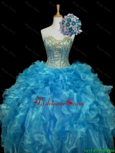 Pretty 2016 Summer Sweetheart Sequins and Ruffles Quinceanera Prom Dresses in Blue SWQD006-6FOR