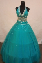 Pretty Ball Gown Halter TopFloor-length Quinceanera Dresses Appliques with Beading Style FA-Z-0194
