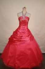 Pretty Ball gown Halter topFloor-length Quinceanera Dresses  Beading Style FA-Z-0062