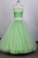 Pretty Ball gown Strapless Floor-Length Spring green Beading Quinceanera dresses Style FA-S-005