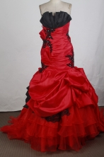Romantic Ball Gown Strapless Floor-length Red Quinceanera Dress Y042623