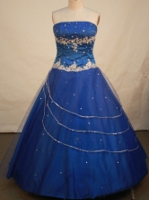 Romantic Ball Gown Strapless Floor-length Royal Blue Embroidery Quinceanera dress Style FA-L-134