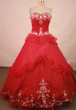 Romantic Ball Gown Sweetheart Floor-length Red Embroidery Quinceanera dress Style FA-L-153